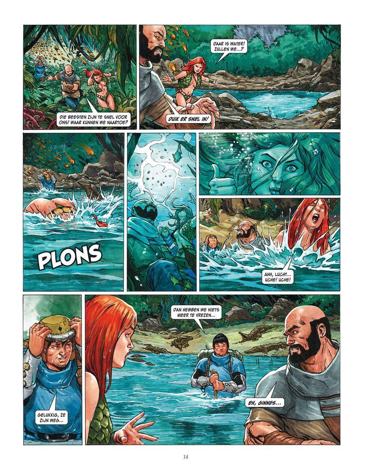 Pagina uit 'Het Zwevende Gewest' uit de reeks 'Storm – de kronieken van Roodhaar'. Beeld RV