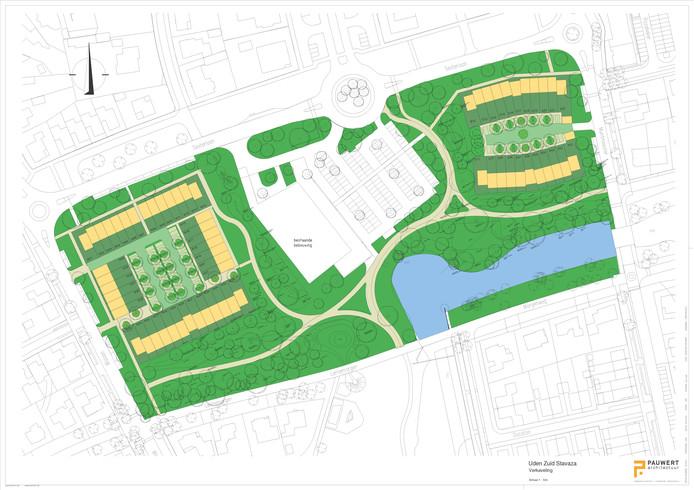 Zo ziet het plan voor het Sesterpark eruit. Aan de bovenkant loopt de Sesterlaan, in het midden ligt de supermarkt.