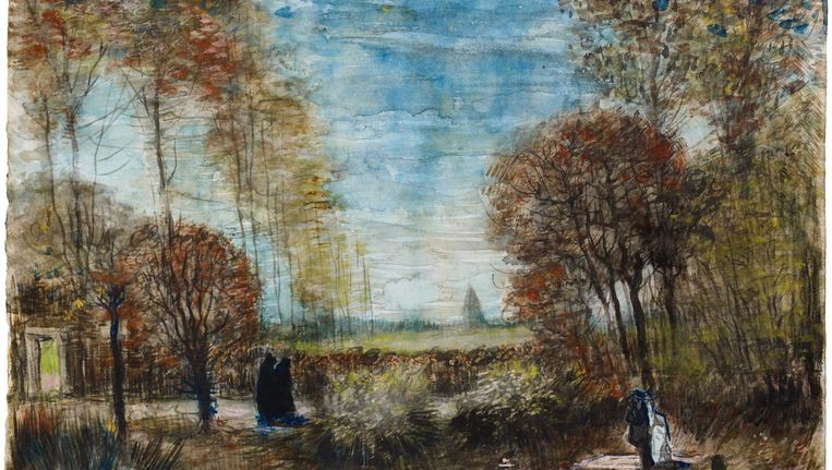 De tuin van de pastorie te Nuenen geldt als de laatste bekende aquarel van Vincent van Gogh Beeld Van Gogh