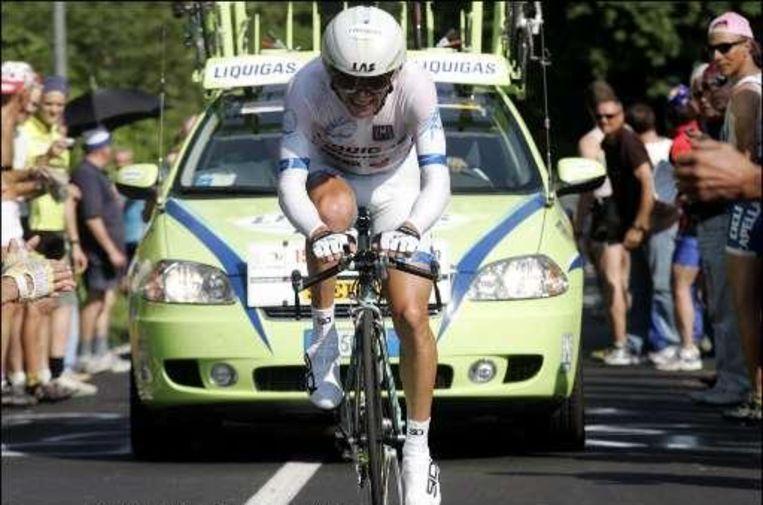 Di Luca (hier op archief in een Girotijdrit) zag de chrono al lopen, toen hij te laat aan de start verscheen. Beeld UNKNOWN