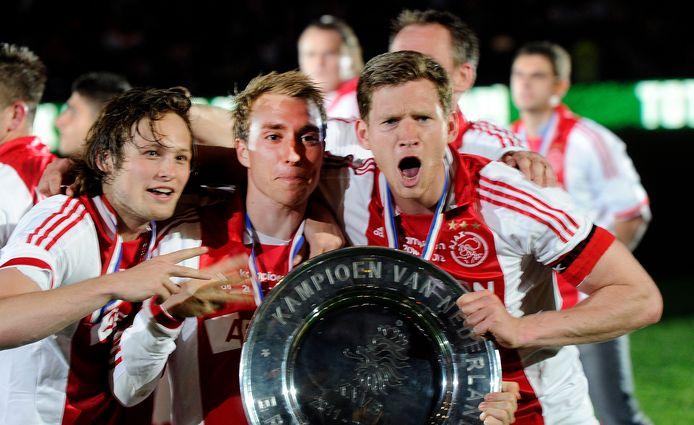Feest in Amsterdam in 2012: Blind, Eriksen en Vertonghen vieren de titel van Ajax in de Eredivisie.