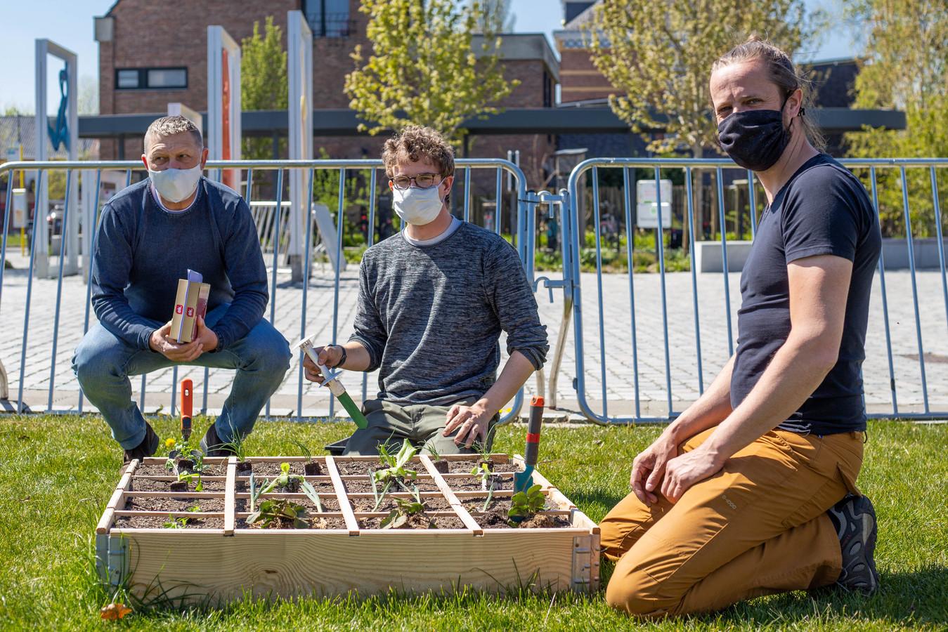 Milieuschepen Benny Smets, Frederik Gerits en Joris Matthé aan een van de twee tuintjes nabij het gemeentehuis van Laakdal.