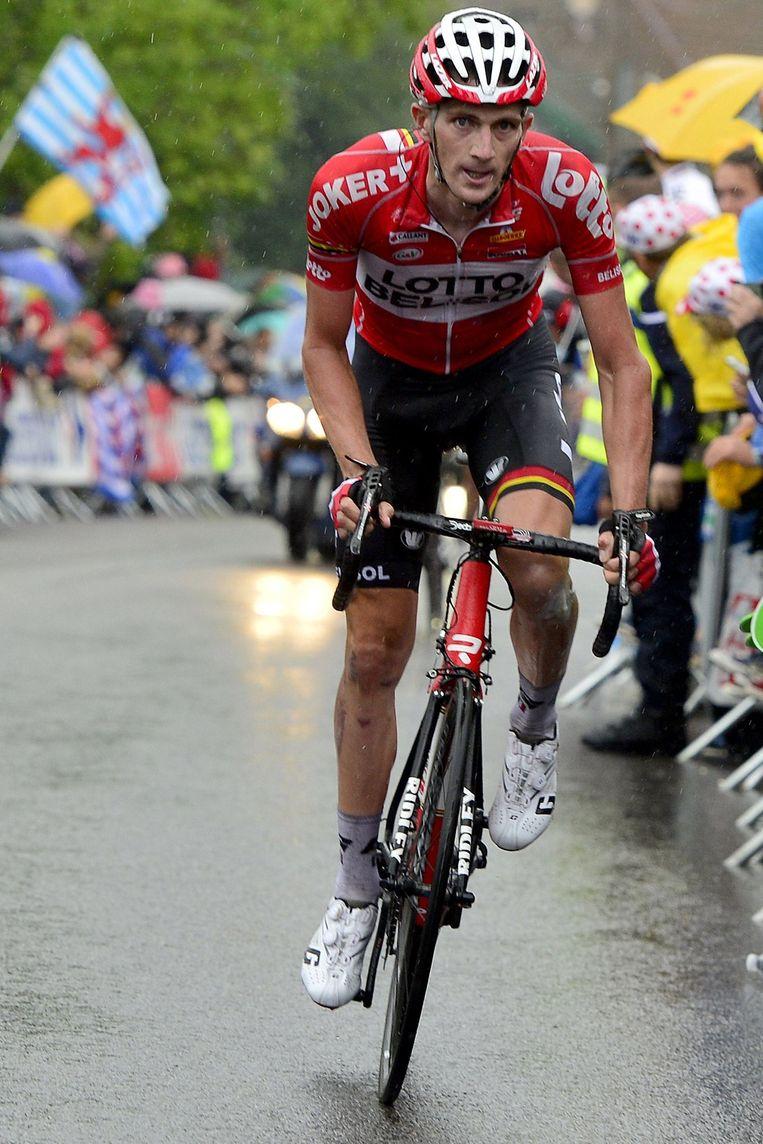 Jurgen Van den Broeck moest passen, gaf 1.20 toe op nog geen 2 km en is gezakt naar de tiende plek. Beeld PHOTO_NEWS