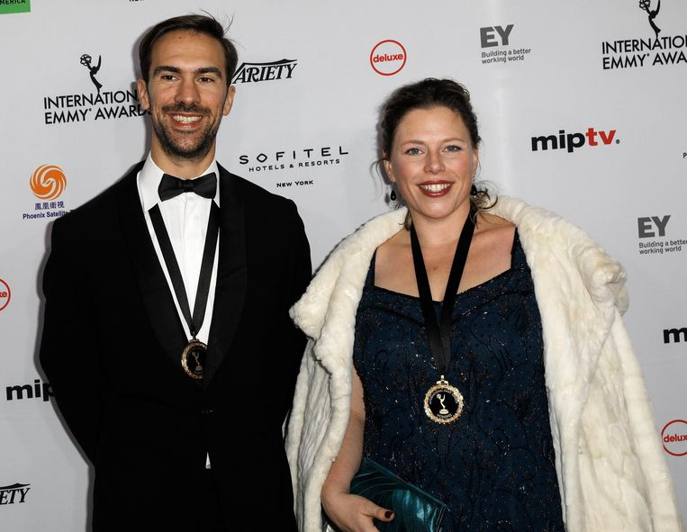 null Beeld Regisseur Stephane Kaas (L) en NTR-eindredacteur Marloes Blokker. EPA