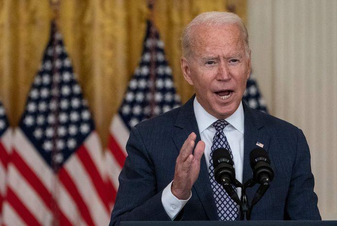 De Amerikaanse president Joe Biden tijdens een persmoment over de situatie in Afghanistan vrijdag in het Witte Huis.