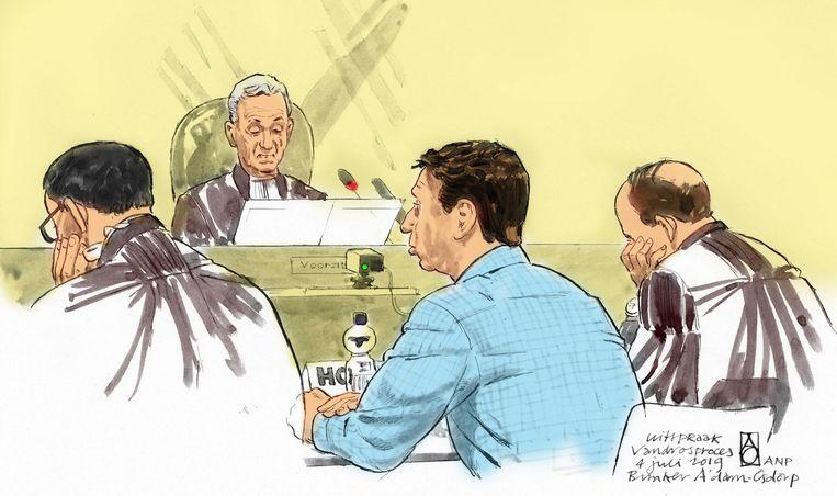 Rechtbanktekening van Willem Holleeder in de rechtbank. Beeld ANP Graphics