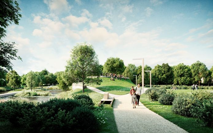Het park krijgt in het midden ook een heuvel met amfitheater en vleermuiskelder.