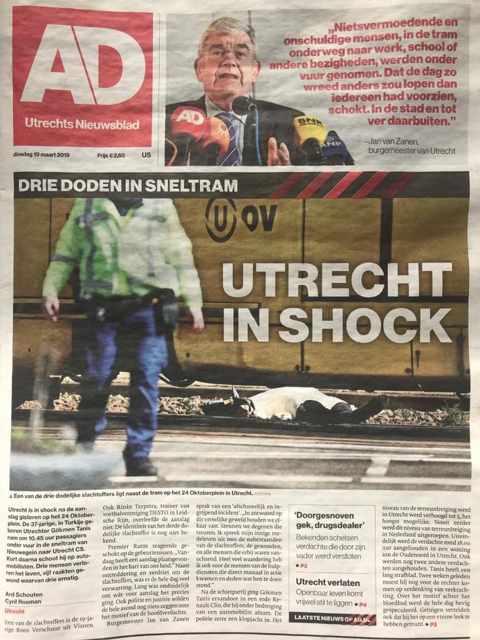 De voorpagina van het AD Utrechts Nieuwsblad vandaag.