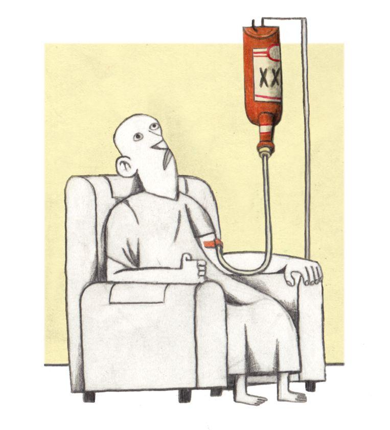 'Toen ik mijn diagnose kreeg, was ik al dertien jaar nuchter. Kanker? Ik? Waarom was ik dan gestopt?' Beeld Lukas Verstraete