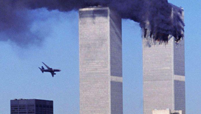 Elf september 2001. Het tweede vliegtuig staat op het punt om in de tweede toren te vliegen.