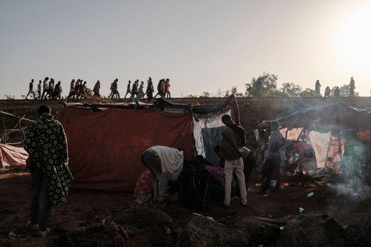 Vluchtelingen in Ethiopië, zonder huis, na het geweld in de regio Tigray. Beeld AFP