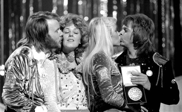 ABBA wint het Songfestival in 1974. Beeld Bruno Pers
