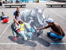 Op de foto in een straattekening tijdens World Street Painting in Arnhem