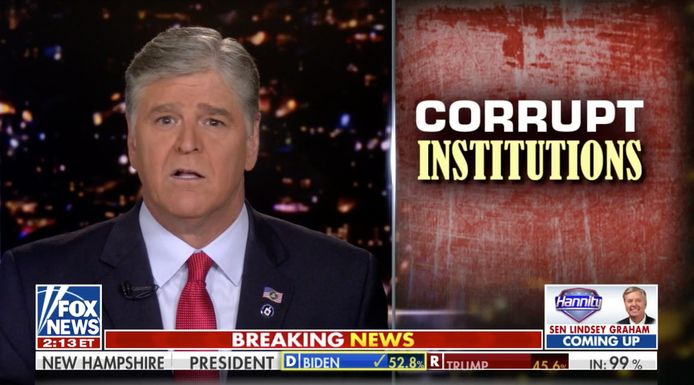 """Sean Hannity: """"Vanavond zou elke Amerikaan kwaad moeten zijn, woedend en bezorgd over wat er gebeurd is tijdens de verkiezingen en de aanloop naar de verkiezingen"""""""
