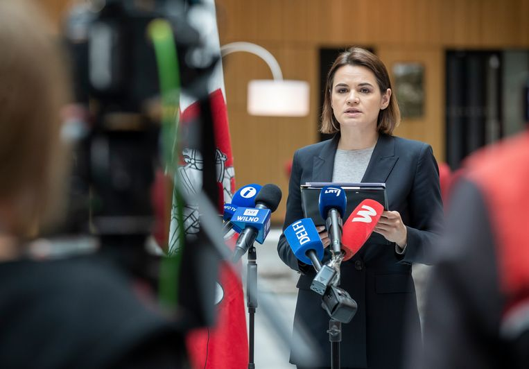 De Wit-Russische oppositieleider Sviatlana Tsikhanouskaya. Beeld AP