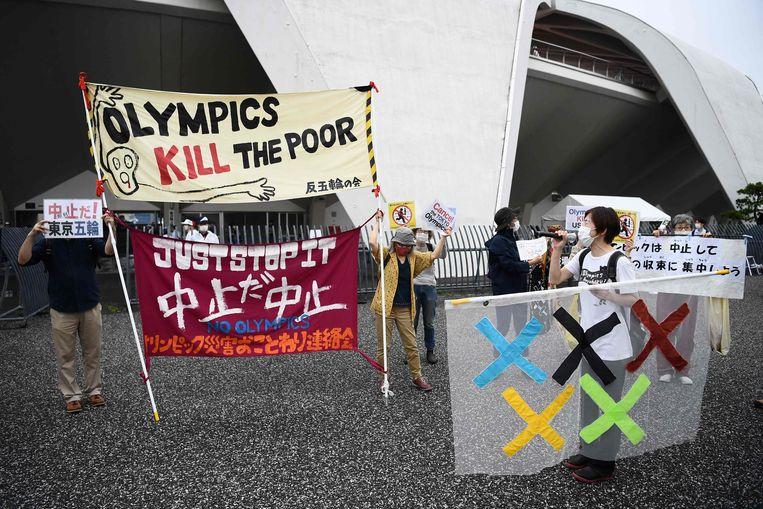 Protesten tegen de Spelen in Japan. Beeld AFP
