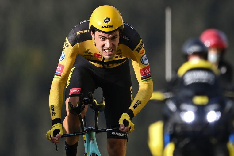 Wielrenner Tom Dumoulin in september vorig jaar tijdens de Tour de France. In juni keert hij terug om zich klaar te stomen voor de Olympische Spelen in Tokio. Beeld AP