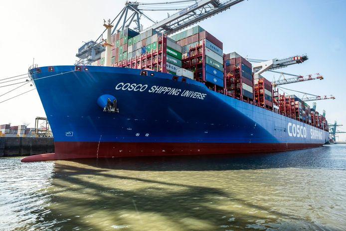 De Cosco Shipping Universe kon je gisteren van dichtbij bewonderen.