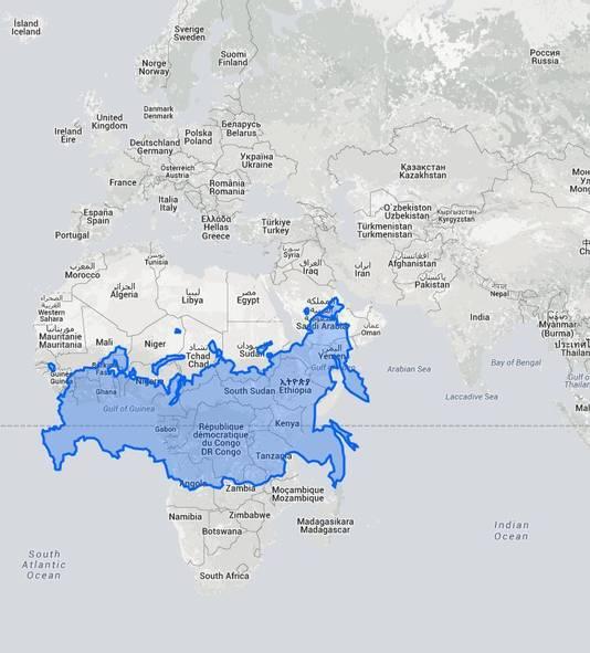 Zo klein is Rusland echt in vergelijking met Afrika.