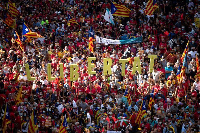 Meer dan 100.000 Catalanen op straat voor onafhankelijkheid.
