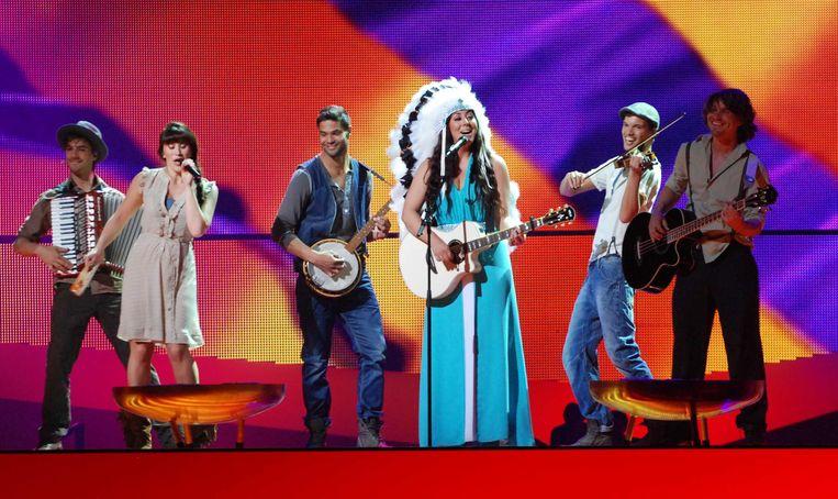 Joan Franka tijdens een repetitie van het Eurovisie Songfestival in 2012. Beeld ANP