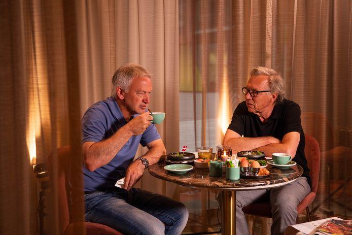 Marc Degryse en Jan Mulder bij het ontbijt vanochtend.