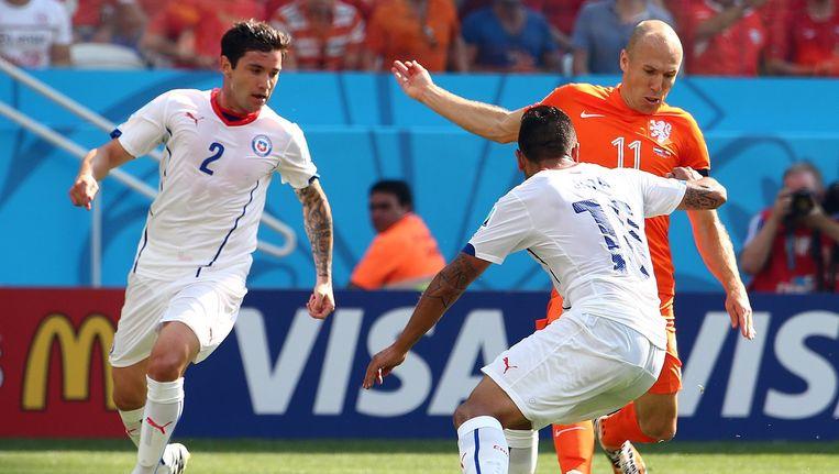 Robben in actie tijdens Nederland-Chili. Beeld epa