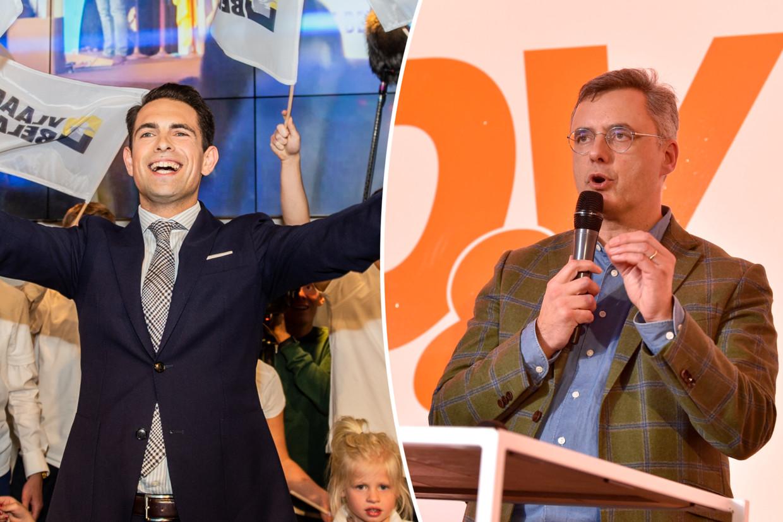 Vlaams Belang-voorzitter Tom Van Grieken en CD&V-voorzitter Joachim Coens. Beeld Belga/Photo News
