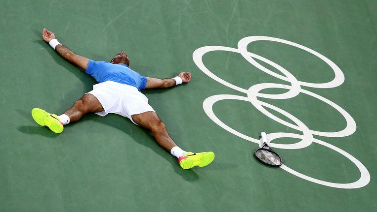 Del Potro na zijn winst tegen Nadal. Beeld getty
