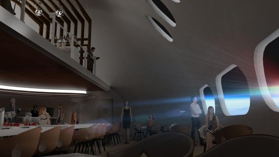 Een restaurant in het ruimtehotel.