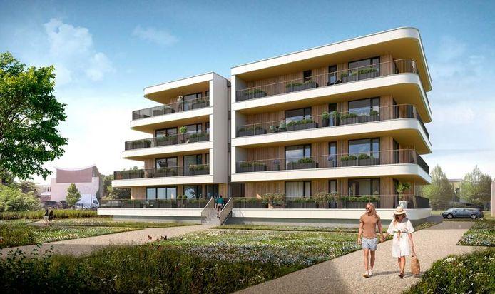 Het nieuwe appartementencomplex Frisselsteyn, dat komt te staan achter de Markt aan de Aa. Op deze impressie de aanblik vanuit de richting van de Frisselsteinstraat.