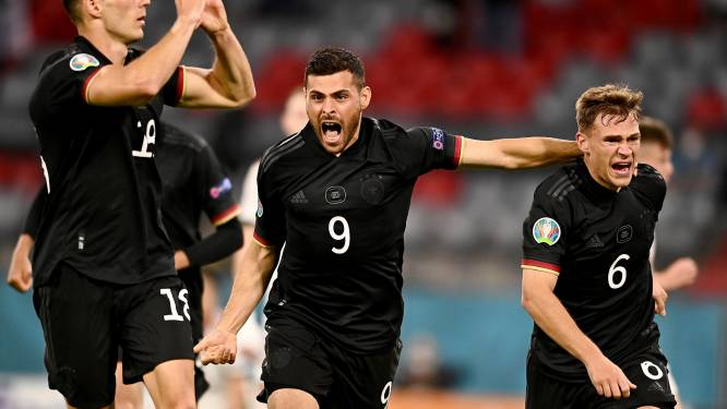Duitsland kruipt tegen Hongarije door oog van de naald en treft Engeland op Wembley