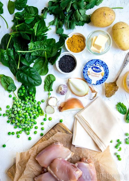 Ingrediënten Indiase filodeegtaart met kip en gember