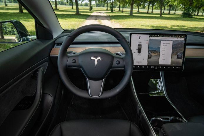 Het interieur van de Tesla Model 3