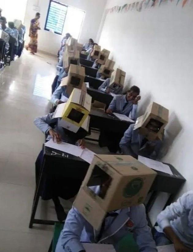 Niet alle leerlingen hadden dozen op hun hoofd.