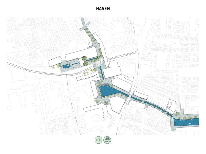 Eén van de extreme plannen: de haven doortrekken naar het Konings- en Willemsplein. De middelste waterpartij op de impressie is het Koningsplein.