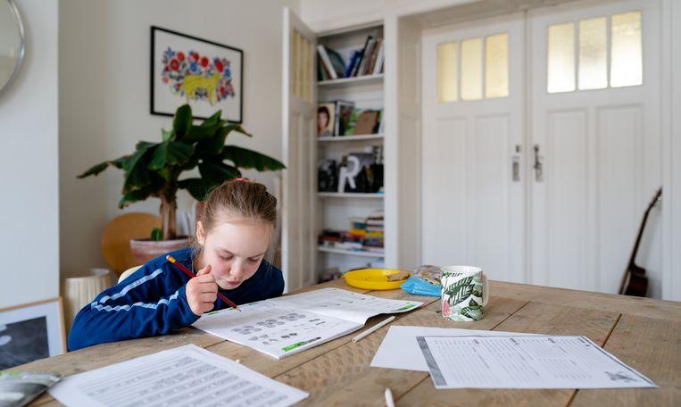 Een leerling van 8 jaar krijgt thuisonderwijs.  Beeld ANP