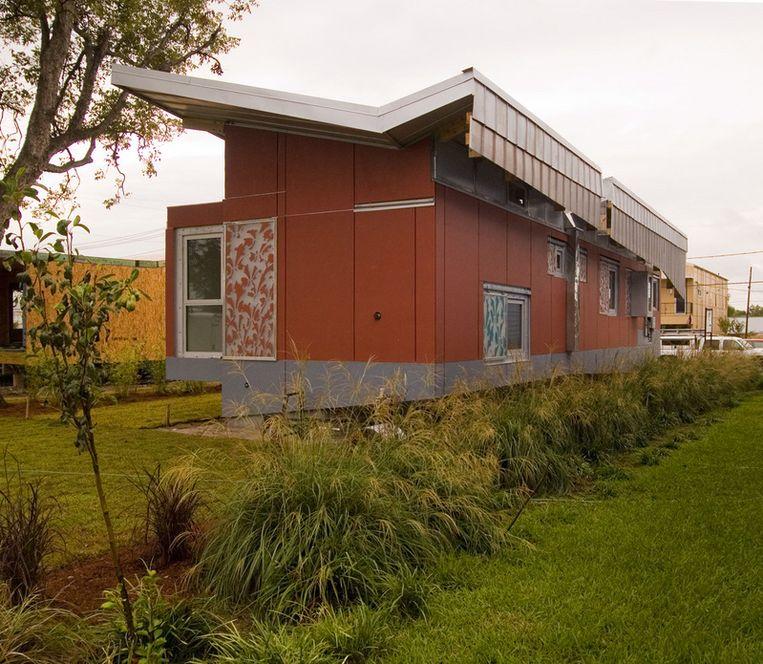 Dit huis is bestand tegen de watersnood omdat het kan drijven. Beeld UNKNOWN