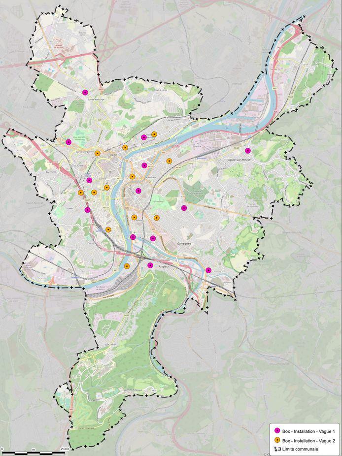 Carte des localisation des box à vélo à Liège.