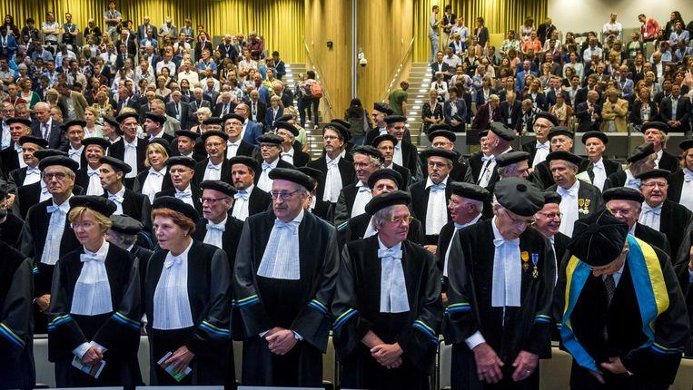 Hoogleraren bij de opening van het academisch jaar aan de Universiteit van Wageningen in 2018.  Beeld ANP