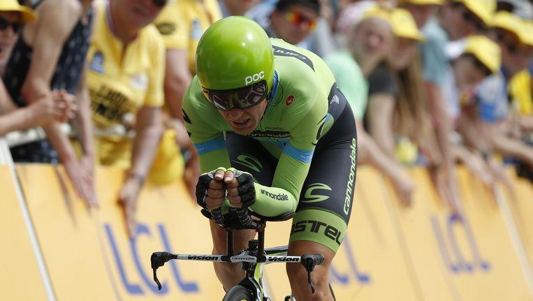 Sebastian Langeveld van team Cannondale-Garmin komt over de finish tijdens de openingsrit van de Tour de France in Utrecht, een tijdrit over 13,8 kilometer. Beeld anp