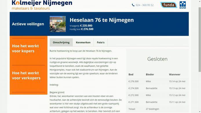 Op de veilingsite van Kolmeijer Nijmegen is te zien welke biedingen er op een woning zijn gedaan.