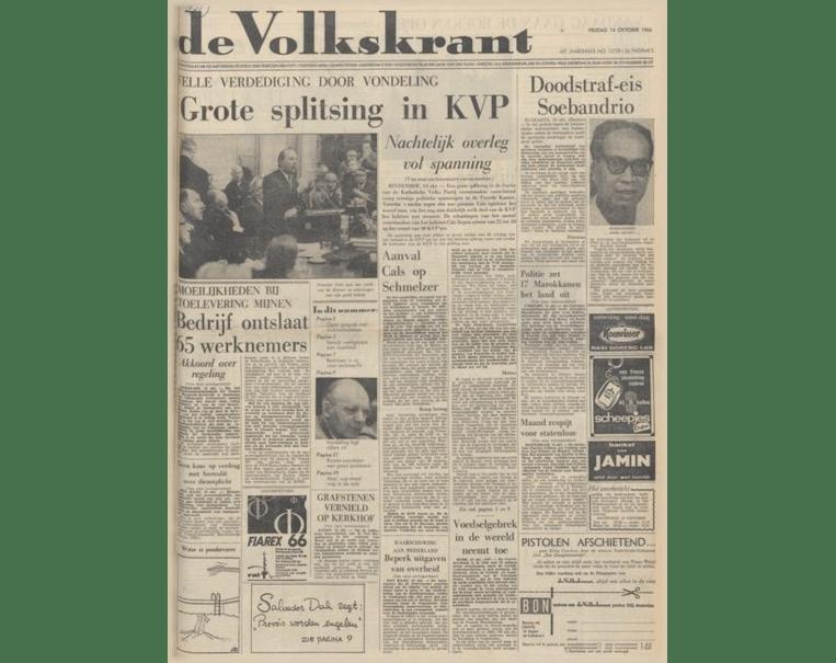 De Volkskrant van 14 oktober 1966. Beeld