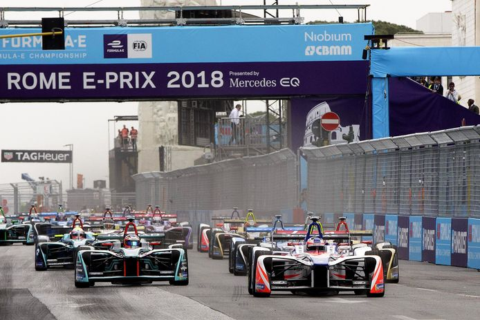 De startgrid van de ePrix van Rome medio april