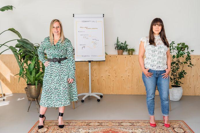 Liesbeth Gouda (l) en Iris Kolthoff (r) werken nu samen, op 1,5 meter afstand, voor Blooming Stories