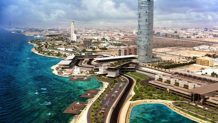 Het paradepaardje van de Saudi's: het racecircuit in Jeddah, waar de komende tien jaar een F1-race zal plaatsvinden. Beeld AFP
