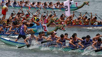 Drakenboten racen door Hong Kong