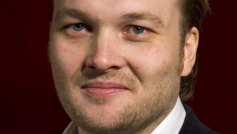 Arjen Lubach tijdens de perspresentatie van Wie is de Mol? 2009 Beeld ANP