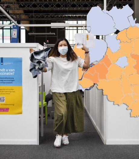 KAART | Vandaag weer minder besmettingen in de regio; maar geen enkele gemeente met nul