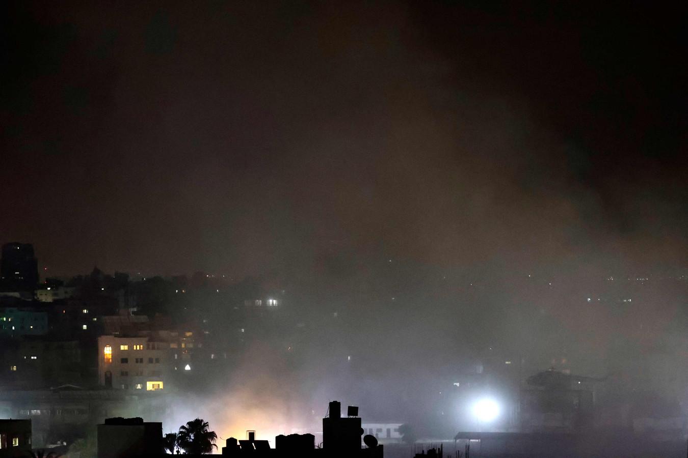 Rook in Gaza na Israëlische luchtaanvallen.